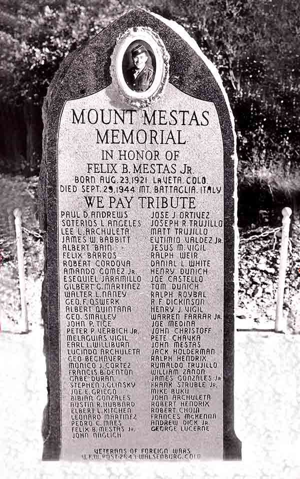 Mt.Mestas Memorial Monument has 63 names of Huerfano County war dead.